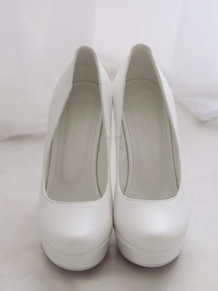 Туфли свадебные гладкие на платформе