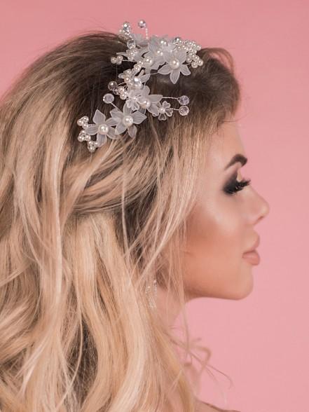 Украшение для волос жемчуг с цветком