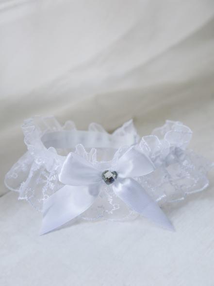 Фотография Подвязка кружевная белая