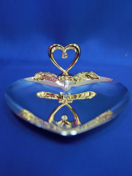 Блюдце для колец из металла «Сердце»